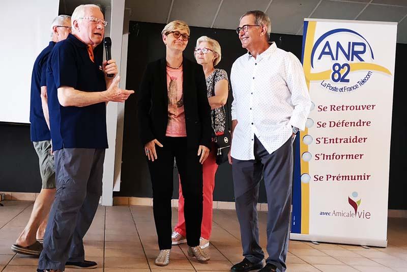 André Assémat remerciant M. Soulié maire de Monteils et Véronique Riols Adjointe et Conseillère Départementale